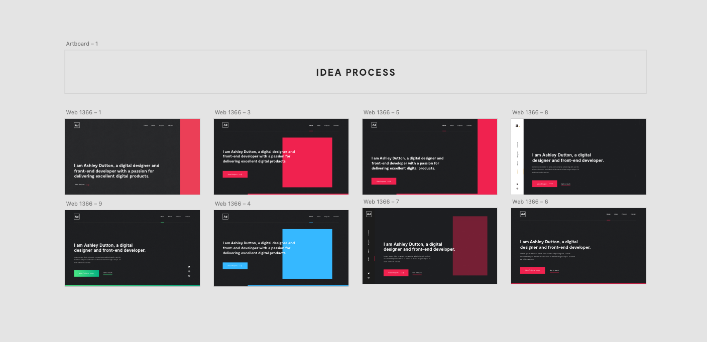 My inital design concepts on in Adobe XD.